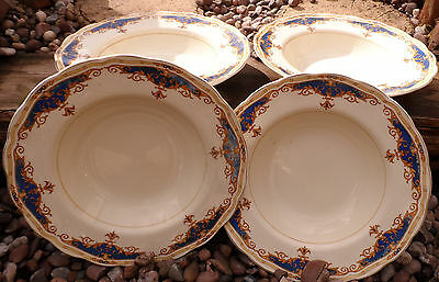 Beautiful Vintage set of four  soup/luncheon plates by  Grindley cream petal