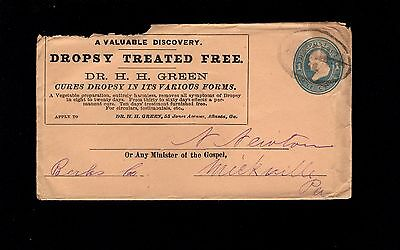 QUACK MEDICINE Dr H Green Dropsy Cure Large Atlanta c1890 PSE Cover  9q