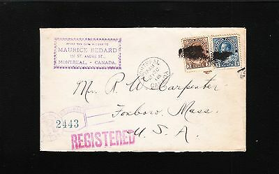 Canada Maurice Bedard Registered Montreal 1918 George V Cover to USA  7q