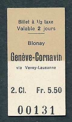 AR343c SWITZERLAND 2nd cl ½ taxe Blonay - Geneve Cornavin via Vevey Lausanne