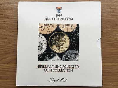 1989 Brilliant Uncirculated 7 Coin Collection Year Set Royal Mint BU Folder