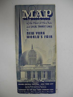 1939 New York Central Railroad Worlds Fair Advertising Tourism Brochure & Map
