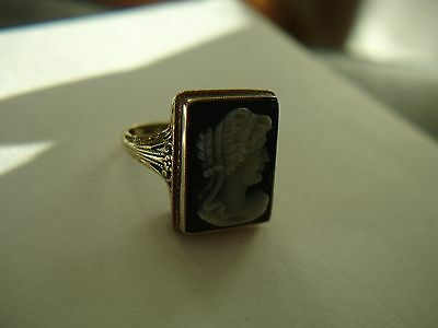 Quality Antique 14K Gold Hardstone Cameo Ring Sz 5   4.4 grams