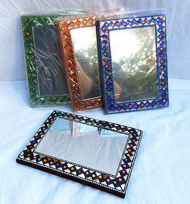Large Indian Notepad / Book / Journal with Mirror & Tile Cover & Hand Made Paper