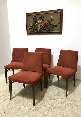 60S RETRO VINTAGE G PLAN STYLE UPHOLSTERED DINING CHAIRS x4