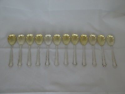 Set of 12 Antique Germany .800 Silver Ice Cream/Sherbet Spoons