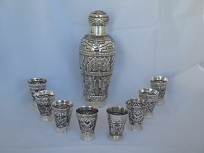 Vintage Handmade Peru Sterling Large Cocktail Shaker and 8 Cups