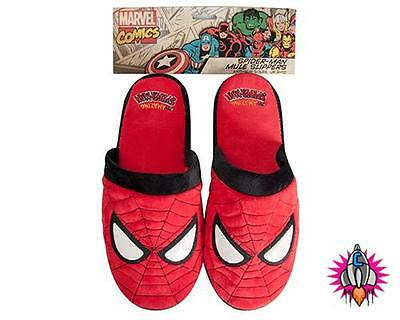 New Official Marvel Comics Spiderman Mens Mule Slippers Size 8-10