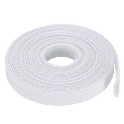 13mm Flat Dia Tight Braided PET Expandable Sleeving Cable Wrap Sheath White 5M