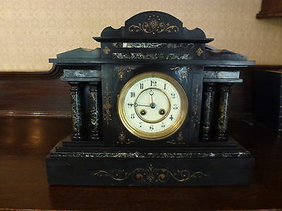 Large Working Victorian Pillar Slate & Marble Mantel Clock -  With Key
