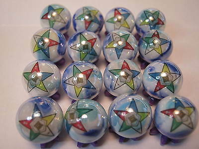 ORDER OF THE EASTERN STAR FREEMASONS MASONIC lot glass marbles 5/8 size + stands