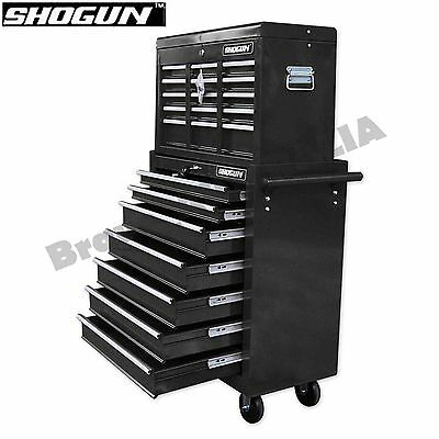 Home Mechanic Tool Box Storage Cabinet Chest Trolley Black Toolbox 16 Drawers