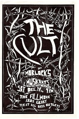 The Cult Concert Poster 1985 Fillmore San Francisco + The Morlocks Authentic EXC