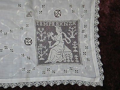 Exquisite Antique Figural Italian Lace Embroidery Tablecloth Minchiate Card Game