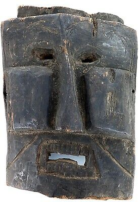 cLATE 1800s MIDDLE HILLS AREA HIMALAYAN RARE SQUARE WOODEN MASK, IMPRESSIVE! #6