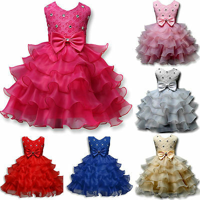 Brand New Kids Toddler Girls Princess Pageant Party Tutu Bow Flower Formal Dress