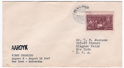 US Aardyk First Crossing 1947 Ship Cover to Rotterdam From New York
