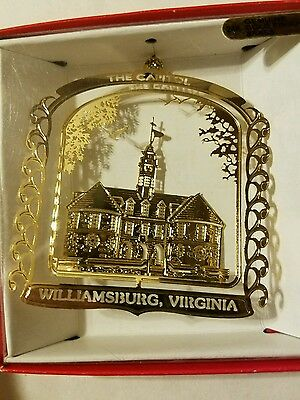 The Capitol Williamsburg Virginia  Brass Christmas Ornament