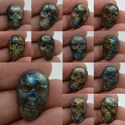 22-23mm  Carved labradorite skull cab cabochon *each one pictured*