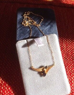 superbe collier or massif 18 ct aigne 750 et 3 saphirs comme neuf boite