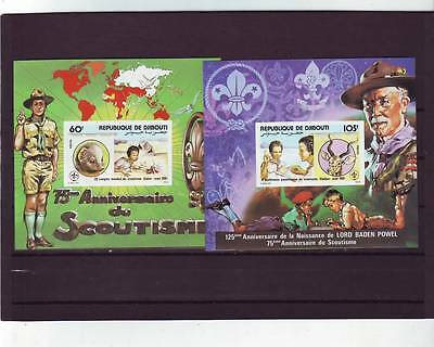 a120 - DJIBOUTI - SG820-821 MNH 1981 28th WORLD SCOUTING CONGRESS - M/S's IMPERF