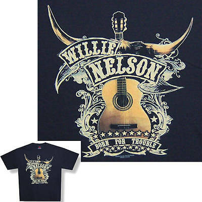 Willie Nelson! Guitar/born For Trouble T-Shirt S New!