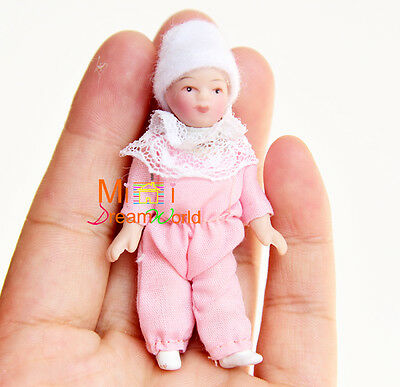 Doll pink Pajamas Cute Baby Girl with Hat 1/12 Dollhouse Miniature
