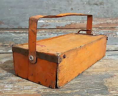 Vintage French Industrial Tool Box Original Orange Paint Metal Wood Box Workman