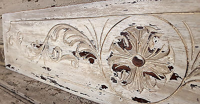 41.06 in ANTIQUE FRENCH CARVED WOOD SHABBY WHITE WALL DOOR BED PEDIMENT 19 th