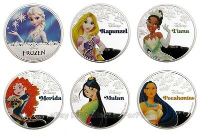 6 Pieces 2016 Princess Silver Plated Commemorative Round Collectible Tokens Set
