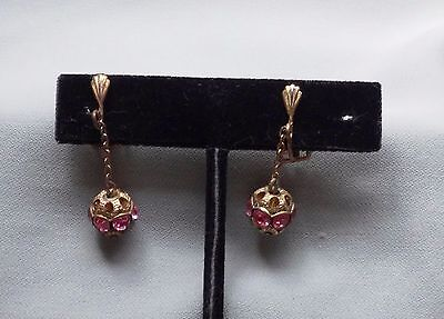 Vintage Authenic Victorian  Dangling Pink Rhinestone Clip On Brass Earrings