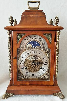 Big Shelf Mantel Walnut Case Clock 1974 13 Inch Hermle Moonphase 2 Bells Strike