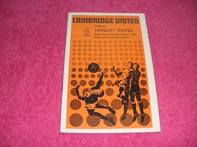 Cambridge United v Torquay United  2/12/72.  With League Football No. 717.