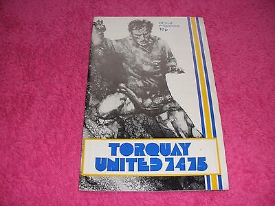 Torquay United v Cambridge United  31/8/74.  With League Football No. 903.