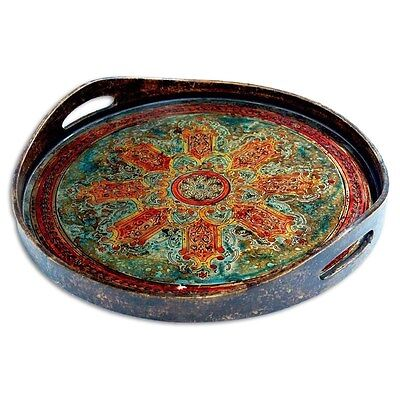 Silkroute PST373-B Cali Round Tray - Blue/Green