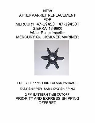 NEW 47-19453 AFTERMARKET REPLACEMENT Water Pump Impeller MERCURY QUICKSILVER