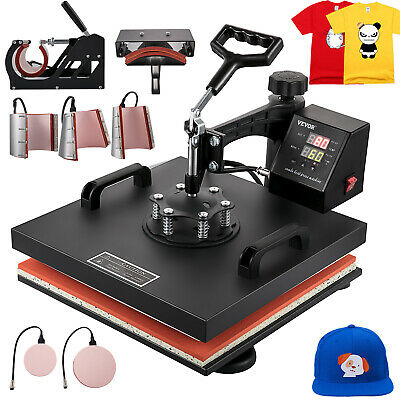 "8IN1 Combo T-Shirt Heat Press Transfer 15""x15"" Baseball Hat Machine Swing Away"