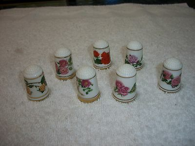 Lot Of 7 Franklin Porcelain Elizabeth Woodhouse Roses Thimbles....no Stand