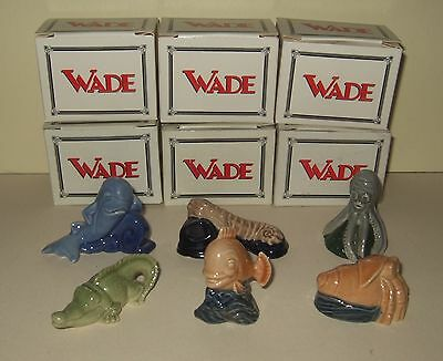 6 Wade Pottery Whimsies - Water Life Collection - Full Set From 1997 - Boxed