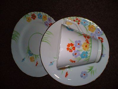 Art Deco Sutherland Bone China Trio Of Side Plate,cup And Saucer Pretty Pattern3