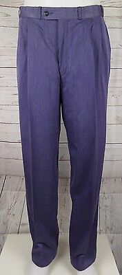 Vtg Pleated Tapered Purple Trousers 80s Does 50s W32 L31 DI98