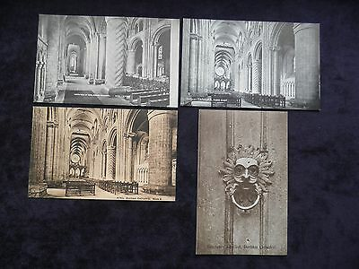 4 Vintage Old Postcards Of Durham Cathedral, Sanctuary Knocker, Nave, Church