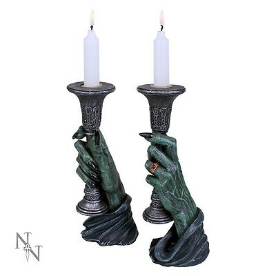 NEMESIS NOW *LIGHT OF DARKNESS* PAIR CANDLE HOLDERS gothic fantasy vampires