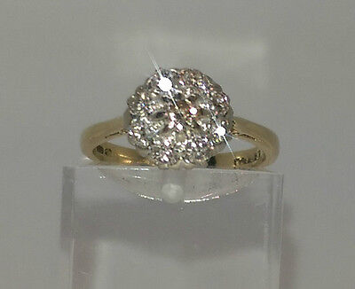 Vintage 18ct Gold 35pts Diamond Cluster Ring.  Goldmine Jewellers.