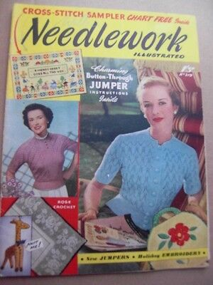 NEEDLEWORK ILLUSTRATED with Pattern Chart -1950's Vintage Knitting Fashion craft