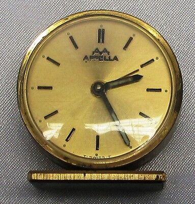 Appella, Small Table  Alarm Clock, Brass On Stand, Round Shape