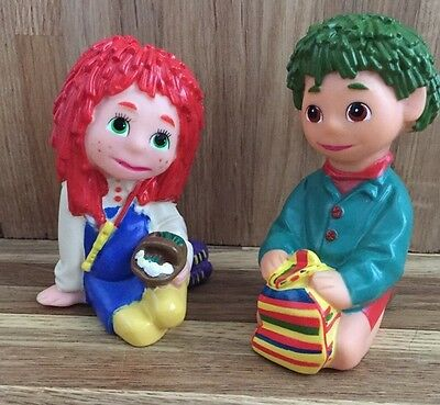 Tots Tv - Tilly And Tiny - Vintage Plastic Figures - Ragdoll - Bottle Tops - Vgc