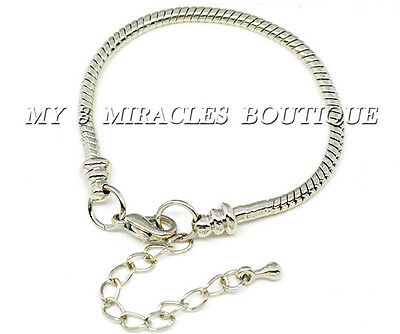 European Style Charm Bracelet Adjustable Silver Snake Chain Girls Christmas Gift