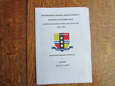 KEMPSTON HAMMERS S&S v WIXAMS [BEDFORDSHIRE LEAGUE] 1ST OCTOBER 2016