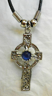 Celtic Cross Pendant Necklace with Blue Stone on Waxed Cord Thong